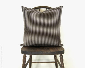 12x18 or 16, 18, 20 square Houndstooth pattern decorative throw pillow case | Neutral brown and beige cushion cover | Rustic farmhouse decor