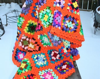 Stunning Multi-Color Granny Square Handmade Afghan / Sofa or Chair Throw