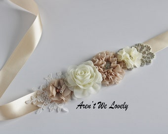 double sided satin sash, bridal belt, bridesmaid belt,rhinestone belt, maternity sash, wedding belt, ivory belt, champaign sash, tan belt