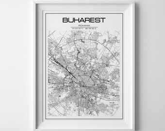 Buharest map, Buharest print, city map print, Buharest poster, personalized gift, city maps, Romania map, map gifts, custom map, print