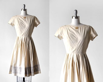 60's cream dress. pleated. 60 full dress. xxs. cotton. 1960's ivory dress. embroidered.