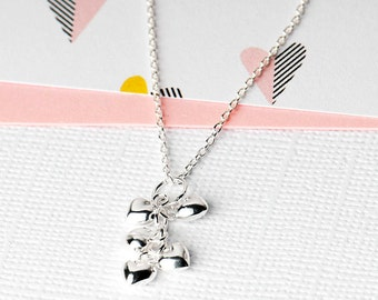 Silver Hearts Necklace, Heart Drop Necklace, Valentines Gift, Heart Valentines Necklace,  Heart Charm Necklace, Silver Hearts Necklace,