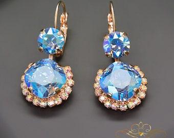 Swarovski Crystal Earrings Statement Earrings Bridal Earrings Bridesmaid Gift Blue Earrings Drop Earrings Gift for Her Wedding Jewelry