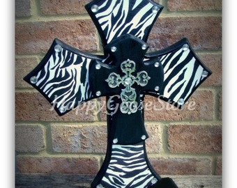 Wood Cross - Large Standing Cross - Black & Zebra
