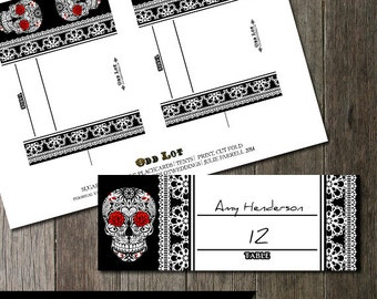 Sugar Skull with Red Carnations Day of the Dead Wedding Table Namecard, Wedding Table Cards, Dia De Los Muertos Digital Printable Cards
