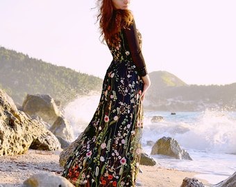 Black Embroidered Tulle Dress, Floral Dress, Maxi Dress