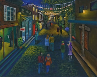 Village Festival-40cm x 50cm Original Acrylic on canvas painting by EMFeltoe, street, yellow, lights, blue, buildings, festival, streetscape