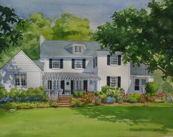 15 x23 Custom Home Watercolor Portrait
