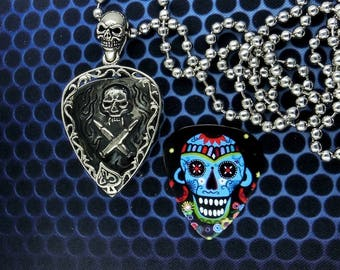 Skull Guitar Pick  Pendant Holder Necklace, Free Shipping