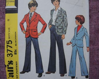 vintage 1970s McCalls sewing pattern 3775 uncut boys suit blazer and pants size 12