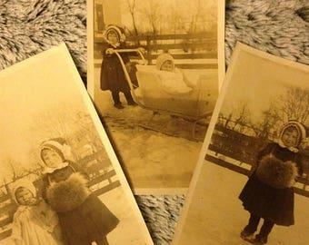 ON SALE 3 Antique Photographs Cute Little Girls Winter Sled Fur Vintage Old Photos