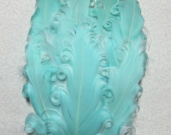 Two Toned Mint and White Nagorie Feather Pad, Curly Nagorie Feather Pad, Goose Feather Pad, DIY Feather Pad for Headbands, Curly Feathers