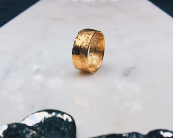 Textured Band, Rustic Ring, Gold Wedding Band, Unique Wedding Band, Textured Gold Ring, Organic Ring, Hammered Gold Ring, Thumb Ring, Pinky