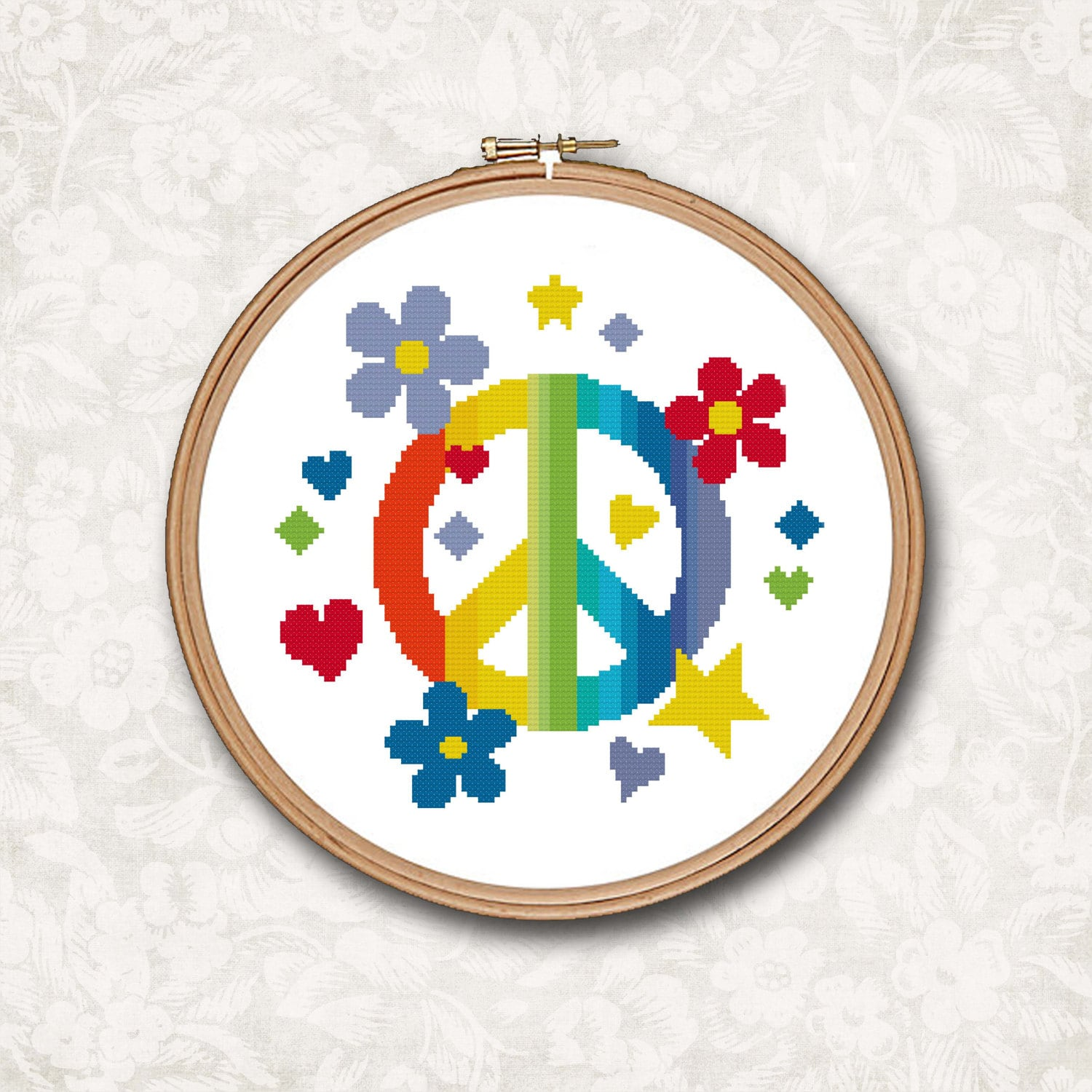 Rainbow Peace Sign With Hearts And Stars Counted Cross