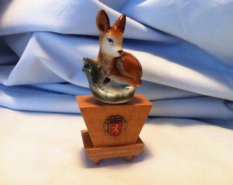 Vintage German Thuringen, Porcelain Bambi Figure bottles pourer Wood Base