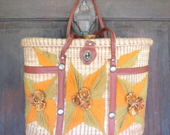 Vintage Raffia Straw Handbag 60s Tropical Purse Island Tote Bag Summer Picnic Basket Tourist Souvenir Orange Natural Eco