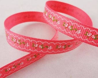 -Ribbon grosgrain pink floral frieze flower - 10 mm - 1 M
