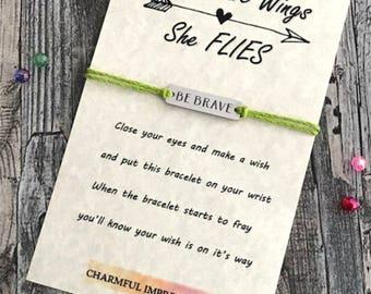 Brave Wings Bracelet Wish Bracelet Favors Wish Bracelet Gift Wish Bracelet Empowering Bracelet Motivational Bracelet Be Brave Bracelet