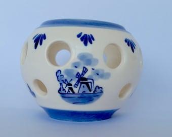 Vintage Holland dutch hand painted Delft Blue Tealight candle holder  delftware scandinavian ceramic porcelain