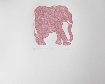 Pink elephant linoprint