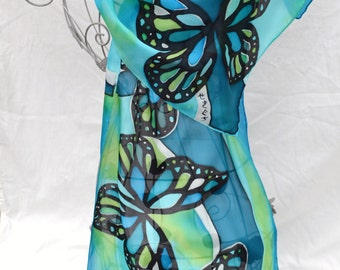 Hand painted silk scarf  - Butterflies (Black, Caribe, Turquoise and Lime) - one of a kind wearable piece of art