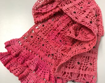 Beaded Varigated Pink Frilly Lace Scarf