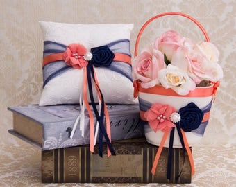 Coral and Navy Blue Flower Girl Basket and Ring Bearer Pillow set, Wedding Basket and Pillow Set, Navy and Coral Wedding Accessories