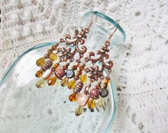 Boho copper earthtone chandelier earrings
