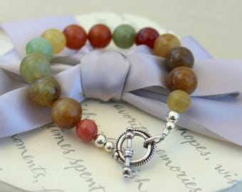Apple Jade Bracelet with Rainbow Jade and Sterling Silver accents
