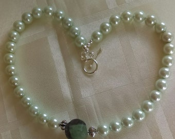 Statement Mint Green Shell Pearl and Flourite Necklace with Silver Plated Copper Toggle Clasp