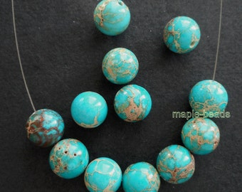 10pcs beads set-12mm Teal Blue Sediment Jasper gemstone round beads