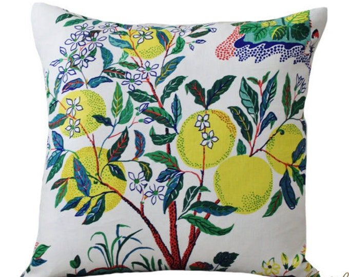 Sale Schumacher Designer Linen Pillow - Citrus Garden Floral Pillow Cover - Blue Green and Yellow Pillow - Botanical Throw Pillow