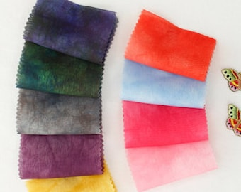 SMUDGED CHIFFON FABRIC, natural dyeing, by Yard