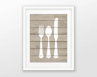 Fork Knife and Spoon Wood Wall Art Poster - Rustic Kitchen Home Decor - Dining Room Art Print