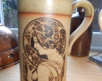 Rare Madrigal Coffee Mug, Boho, Stoneware. Mucha Artwork, Retro Vintage, Gift, Drinkware. Cookware Tea Mug, Coffee Mug, Kitchenalia