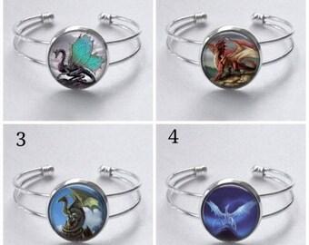 Dragon bangle, dragon bracelet, dragon jewellery, dragon jewelry, dragon cuff, silver bangle, cabochon bangle, dragon gift, bracelet, bangle