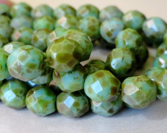 8mm Turquoise Picasso Faceted Beads - Czech Glass Beads