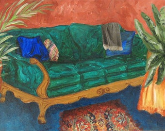 """Original Painting - """"The Green Sofa"""" - 12 x 24 inches"""