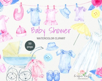 Watercolor Baby Shower Clipart, baby cloth, bib, hat, pram, cot, crib, soft toy, instant download