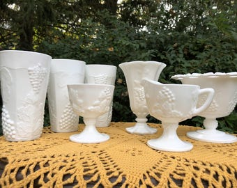 Set of Harvest Grape/Indiana Milk Glass