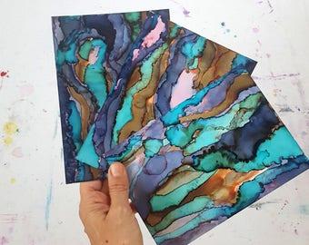 Abalone Series 5x7, Abstract Art, Blue Green Home Decor, Ocean Art, Beach Decor, Alcohol Ink Art, Home Decor, Modern Art,  Office Decor,