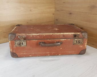 Vintage suitcase, Old suitcase, Cardboard suitcase, Brown suitcase, Travel suitcase, Vintage luggage, Big suitcase, Antique suitcase