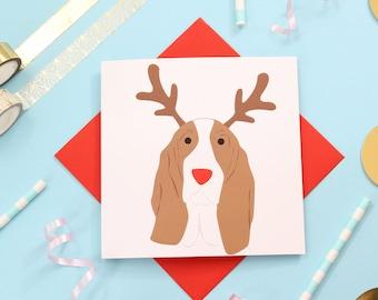 Christmas Bassett hound card