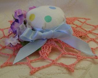 Pink, Blue, Purple Garden Hat Barrette Crocheted Brim