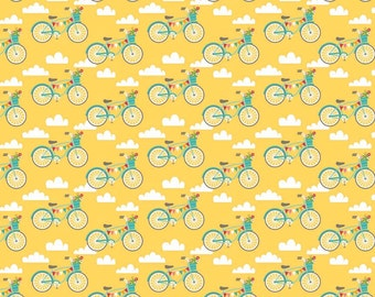 Fancy Free Bicycles Yellow by Lori Whitlock for Riley Blake, 1/2 yard