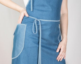 Cute kitchen apron for woman made of soft denim. Handmade with Love. Could be nice present for Your beloved. Packed as a gift.
