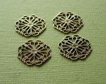 vintaj princess cut filigree, vintaj wrap, vintaj connector, 4 pieces