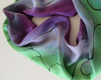 Green Silk Scarf, Hand Painted Silk Scarf, Hand Painted Green Silk Scarf, Silk Scarf, Purple Silk Scarf, Green Scarf, Purple Scarf OOAK