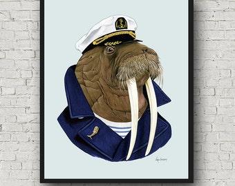 Oversized Walrus Sea Captain print - Ryan Berkley Illustration - 16x20 or 20x28 - Modern Decor - Modern Nursery - Modern Kids - Sea Animals