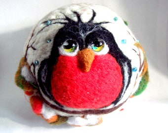 "Felted round purse ""Lovely Snigger"""